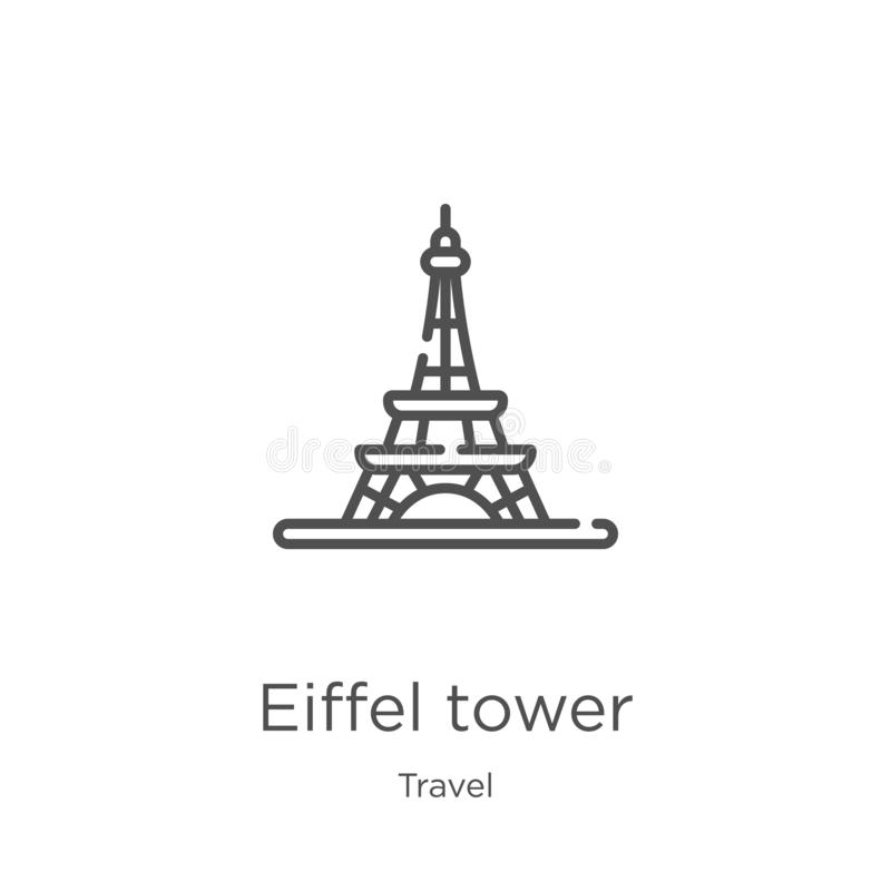 Eiffel tower icon vector from travel collection. Thin line eiffel tower outline icon vector illustration. Outline, thin line. Eiffel tower icon. Element of vector illustration