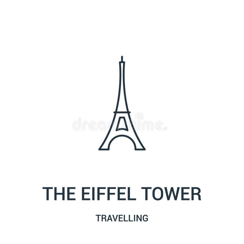 the eiffel tower icon vector from travelling collection. Thin line the eiffel tower outline icon vector illustration. Linear royalty free illustration