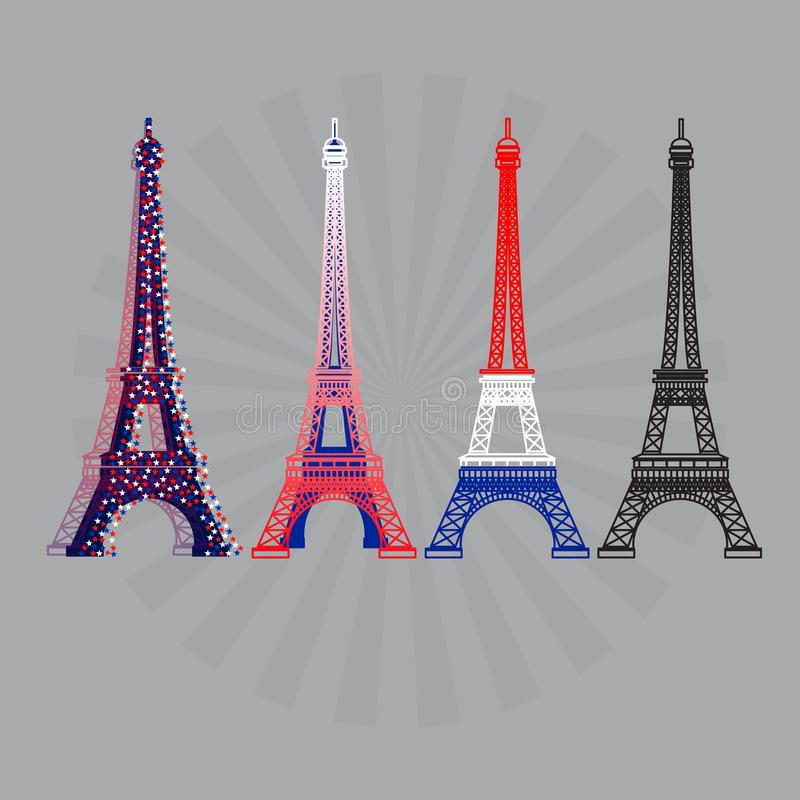 Eiffel tower icons set. Vector illustration. royalty free illustration