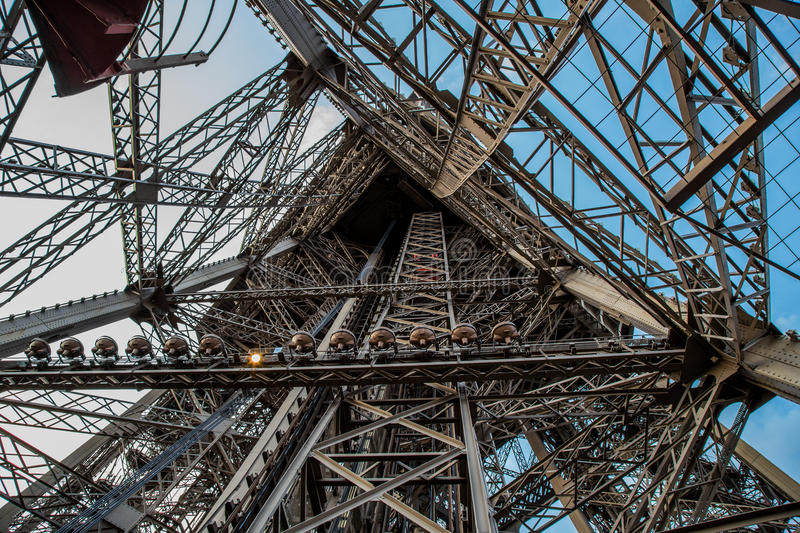 Eiffel Tower from inside stock photography