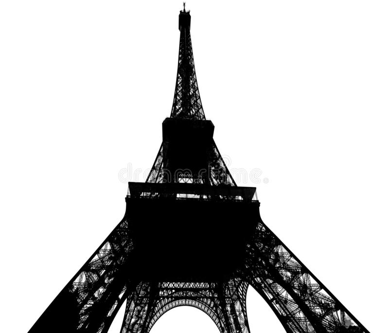 Eiffel Tower isolated on white stock photos
