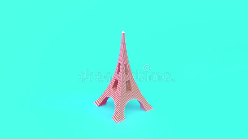 Eiffel Tower isolerad på ljusgrön bakgrund 3d-illustration av hög kvalitet vektor illustrationer