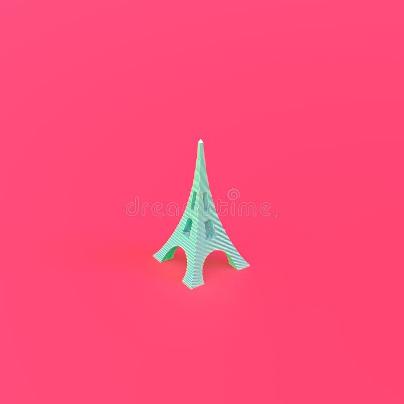 Eiffel Tower isolerad på rosa bakgrund 3d-illustration av hög kvalitet royaltyfri illustrationer