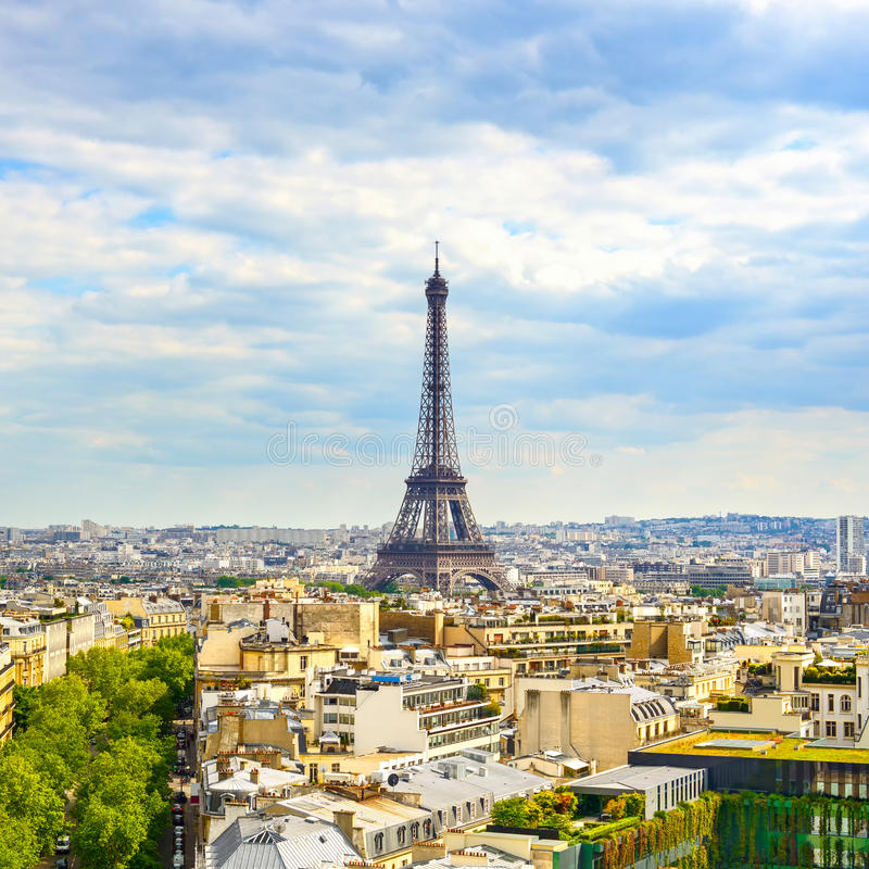 Eiffel Tower landmark, view from Arc de Triomphe. Paris, France. stock photography