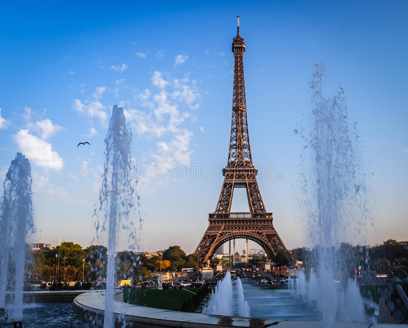 Eiffel Tower late afternoon PAris stock photos