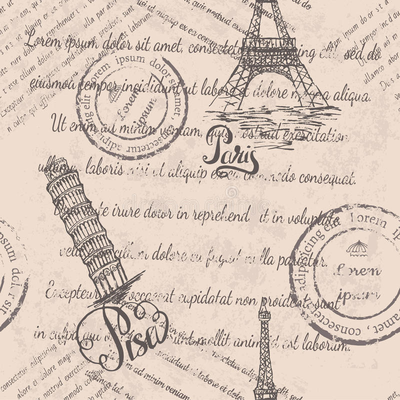 Eiffel Tower, lettering Paris, Leaning tower of Pisa, lettering Pisa, seamless pattern on beige background stock illustration
