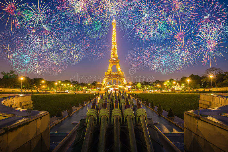 Eiffel Tower Light Performance Show stock photo