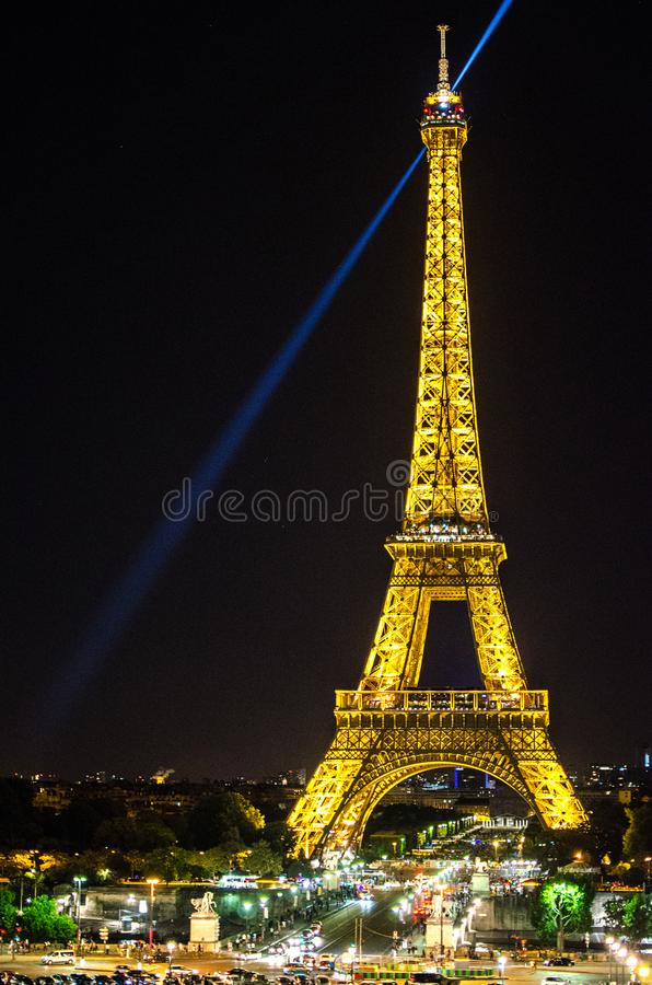 Eiffel Tower lights at night royalty free stock images