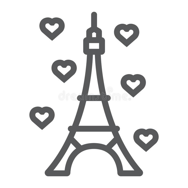 Eiffel tower line icon, france and paris, architecture sign, vector graphics, a linear pattern on a white background. royalty free illustration