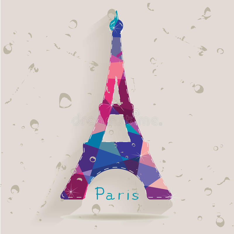Eiffel tower made of triangles royalty free illustration