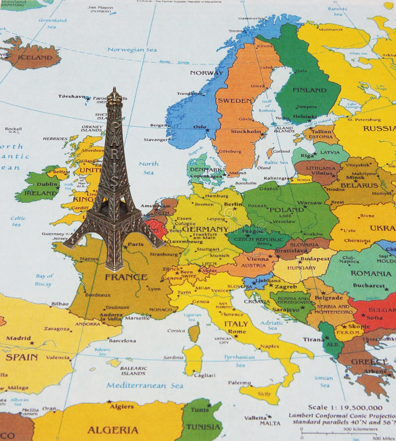 eiffel tower on the map stock image image of books