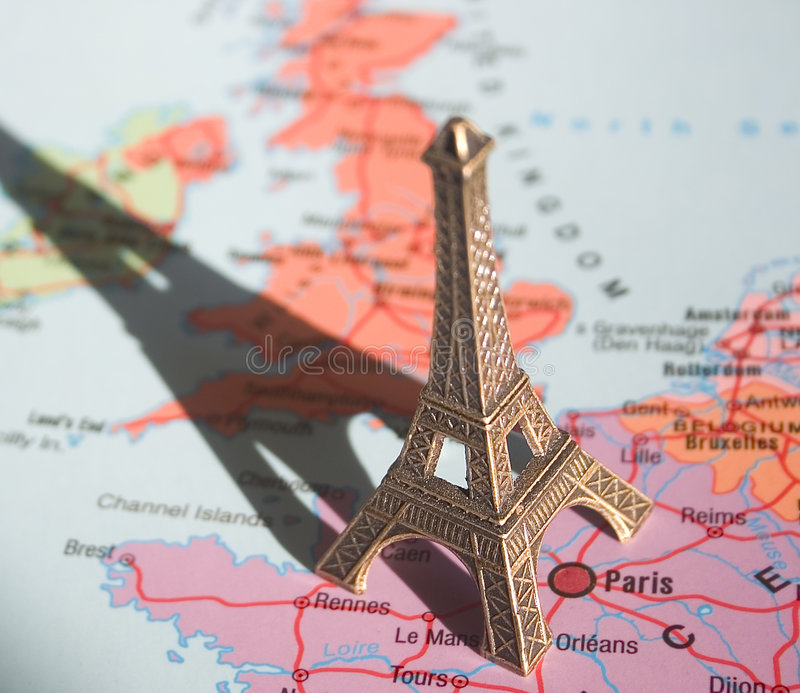 Eiffel Tower on the map stock photo