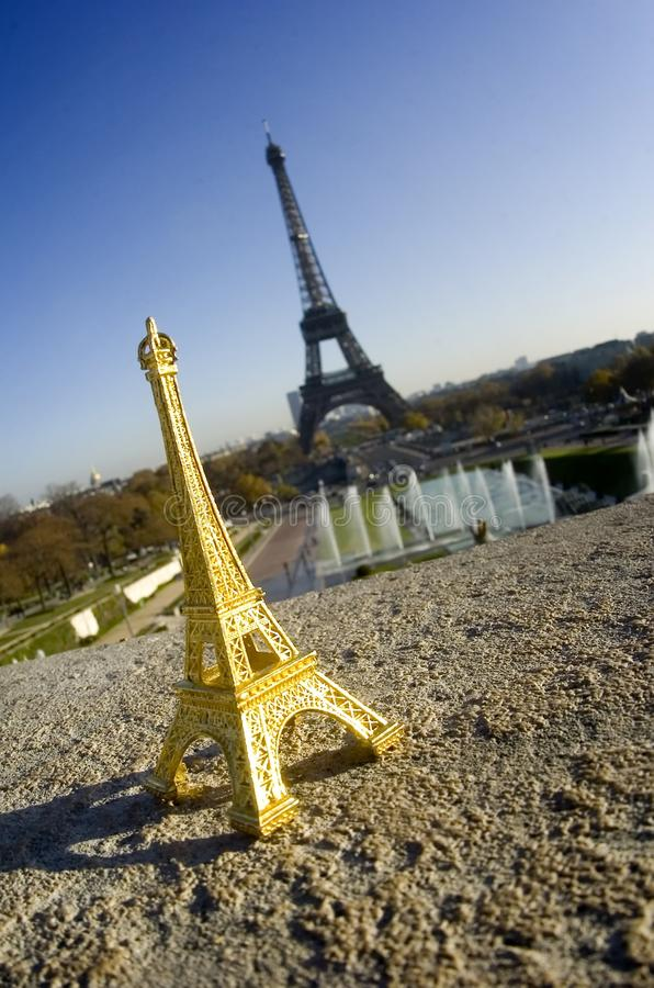 Download Eiffel Tower Miniature In Front Of Real Tower Stock Photo - Image of architecture, france: 13791942