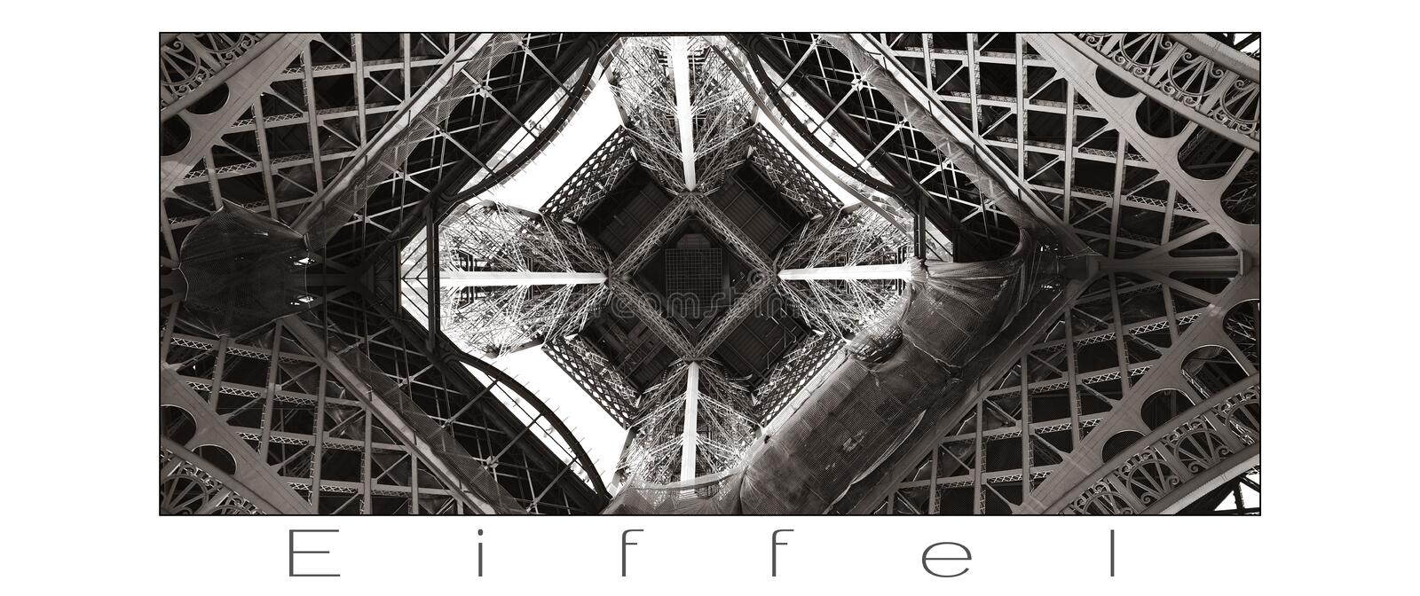 Eiffel Tower detail with white background and gray lettering. Paris, France. royalty free stock photos