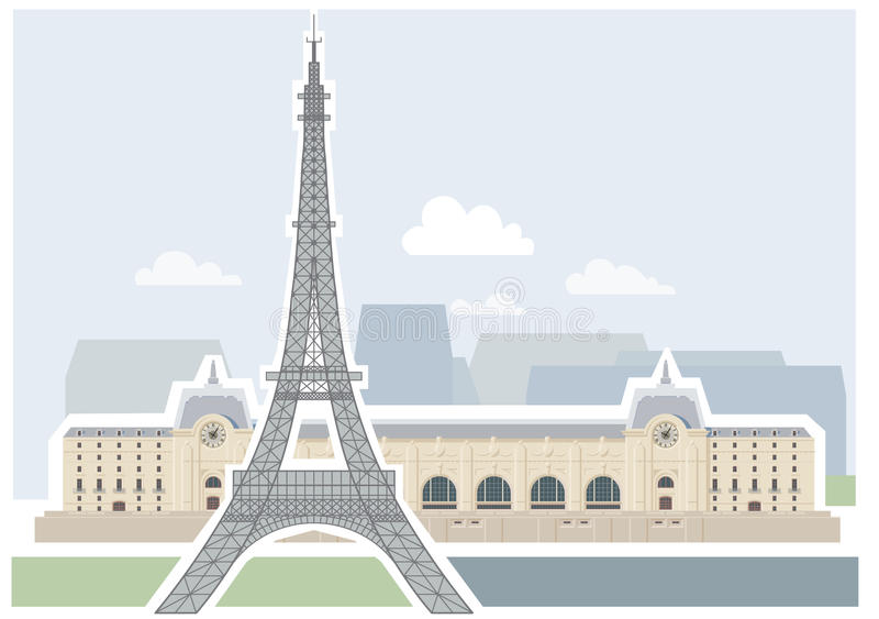 Download Eiffel Tower And Museum D'Orsay - Paris. Stock Vector - Image: 21022905