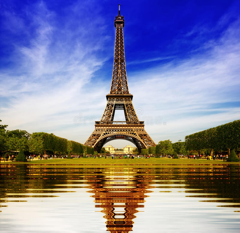 Eiffel Tower in Paris abstract reflection stock photo
