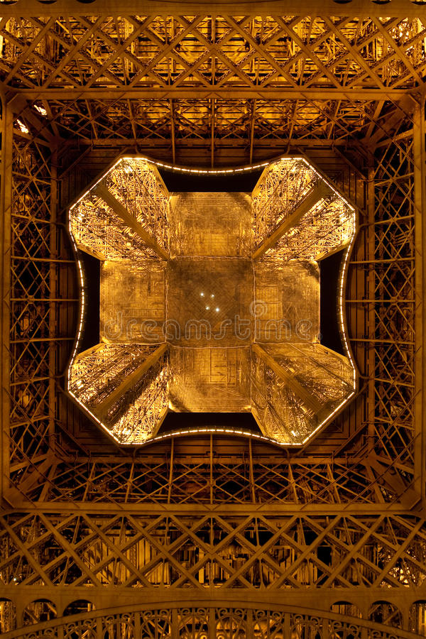 Eiffel Tower by night. Close view from the ground stock photography