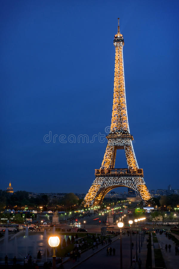Eiffel tower night illumination royalty free stock image
