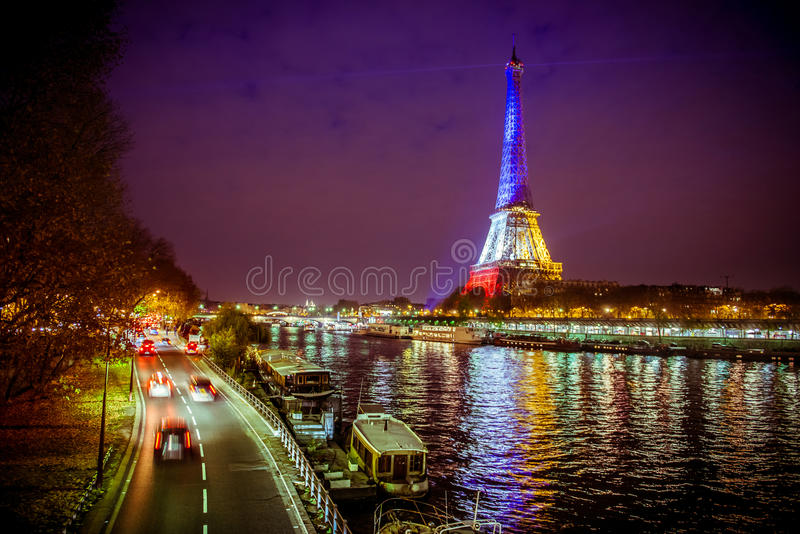 Download Eiffel tower at night editorial image. Image of colors - 63055590
