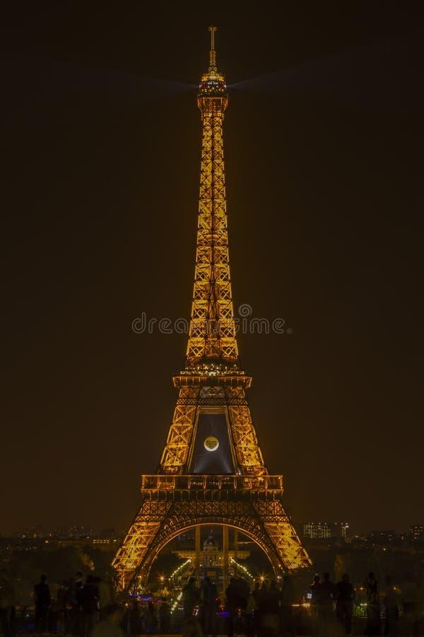 Eiffel Tower nightime Roland Garros giant tennis ball Paris Fran stock photography