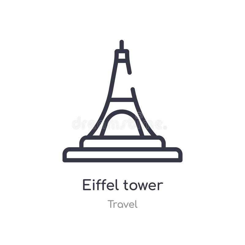 eiffel tower outline icon. isolated line vector illustration from travel collection. editable thin stroke eiffel tower icon on royalty free illustration