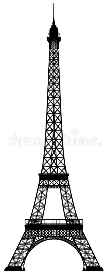 Eiffel Tower Outline Silhouette Stock Illustration