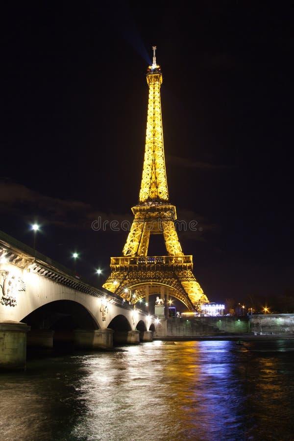 Eiffel tower over Seine in Paris stock images