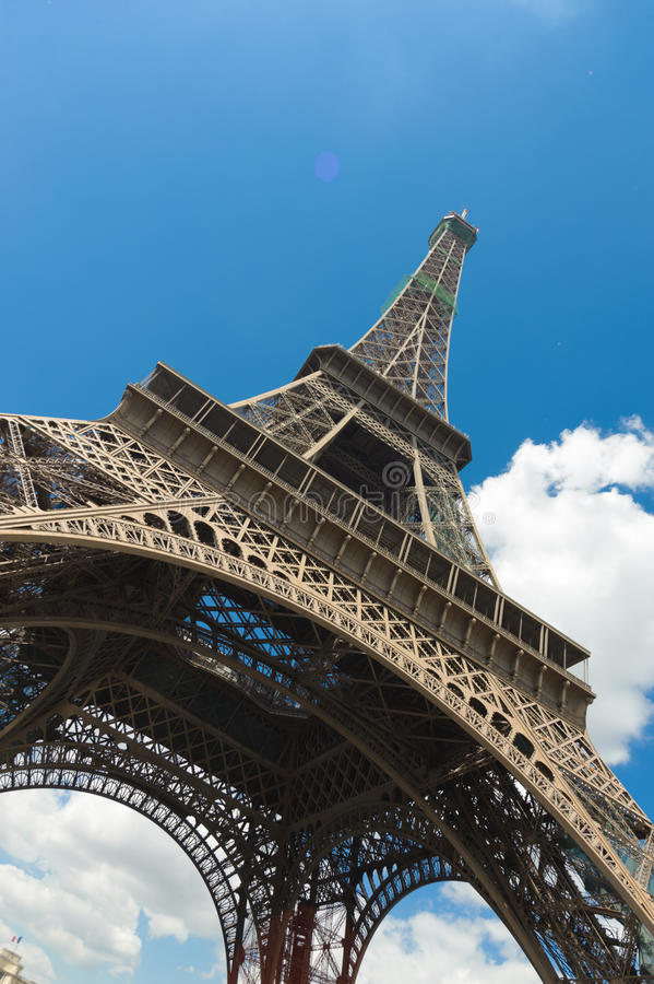 Eiffel tower in Paris. In blue sky stock image