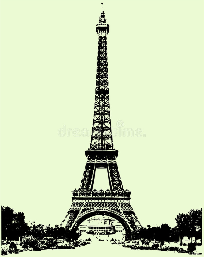 Eiffel tower, Paris. Eiffel Tower: imitation of photo realism. Attached vector file has only straight lines and 90 d. angles, also as an imitation of pixel
