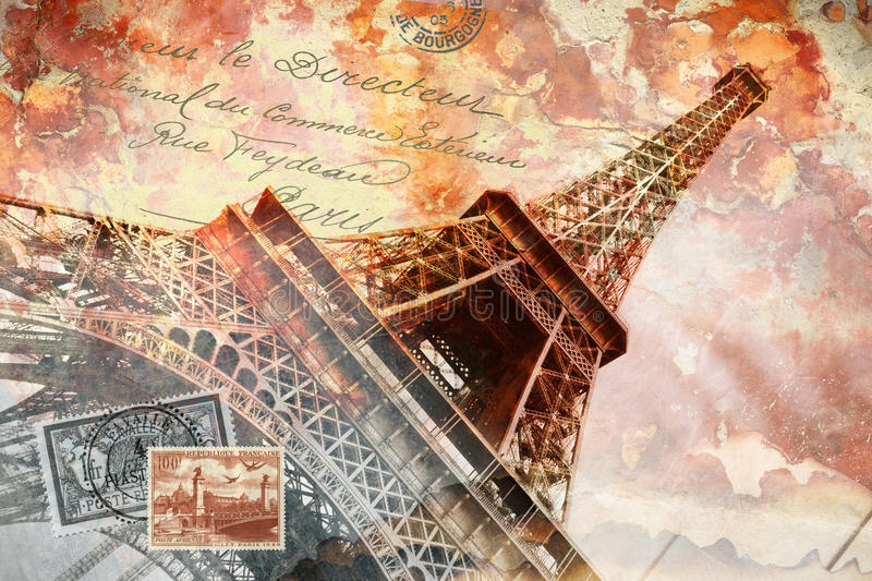 Eiffel tower Paris, abstract digital art stock illustration