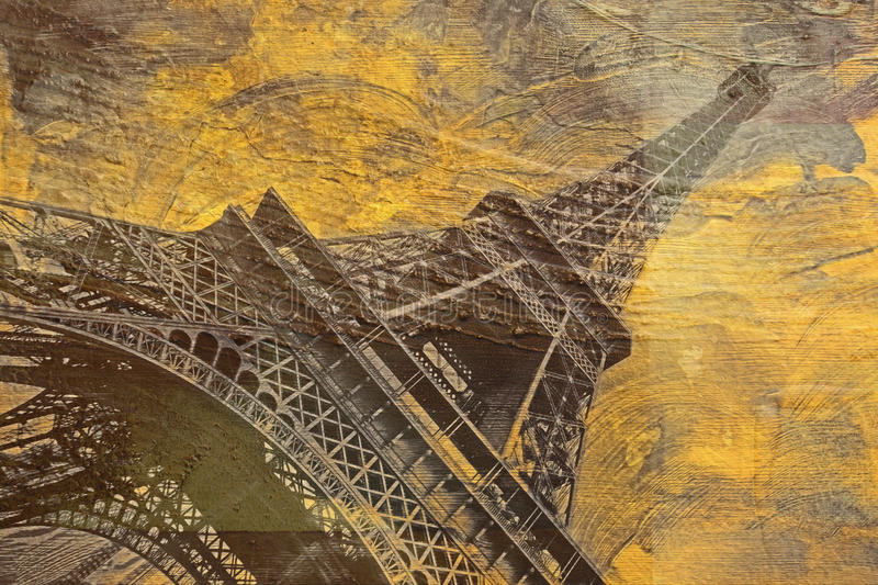 Eiffel tower Paris, abstract digital art. Digital painting printable in very high resolution on canvas royalty free stock photo