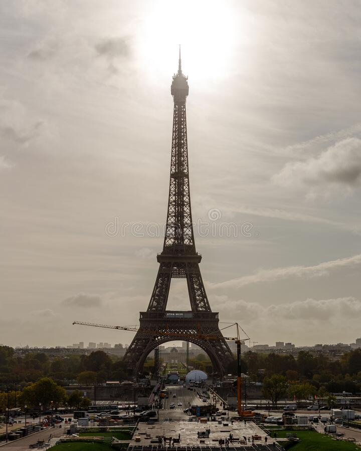 Eiffel Tower in Paris, France, backlit stock images