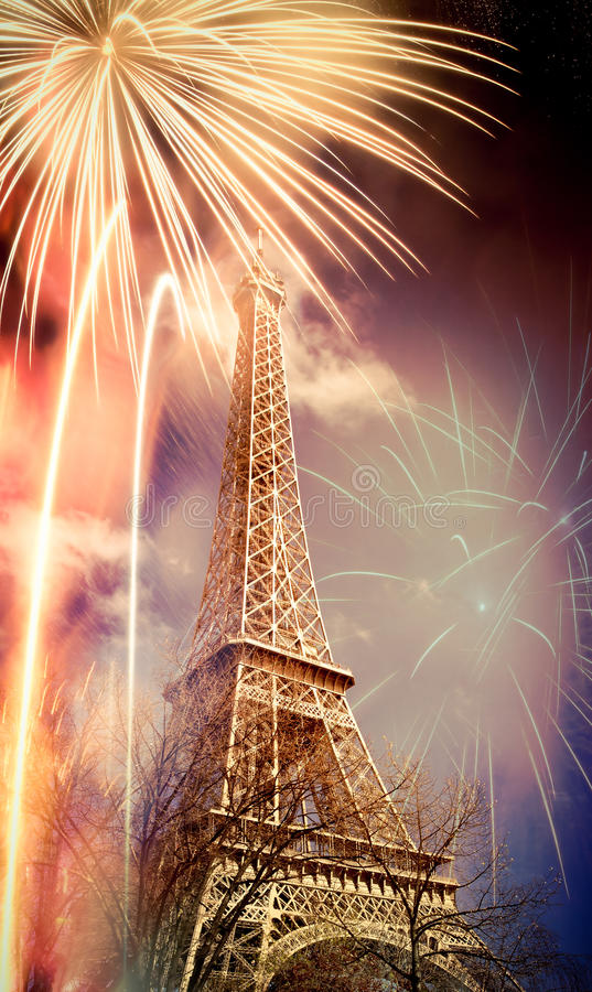 Eiffel tower & x28;Paris, France& x29; with fireworks stock images