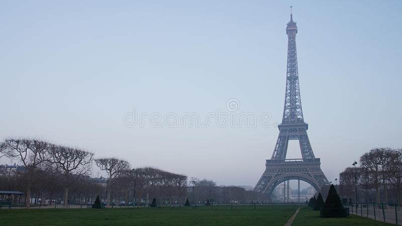 Eiffel Tower in Paris, France. A landscape shot taken early winter morning of the Eiffel Tower in Paris, France stock image