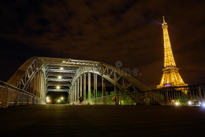Eiffel Tower in Paris, France, with light performance show at night. Paris, France - October 16, 2016: Eiffel Tower with light performance show at night. The royalty free stock photography