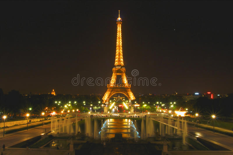 Eiffel Tower, Paris, France lit up at night. As viewed from Trocadero terrace stock image