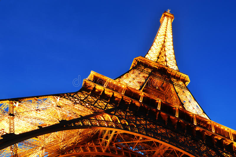 The Eiffel Tower in Paris, France by night.  royalty free stock photography