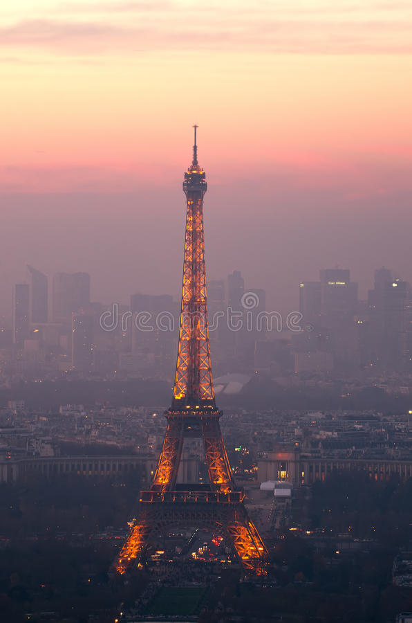 Eiffel Tower in Paris, France at night. Aerial view of Eiffel Tower in Paris, France at night stock photo