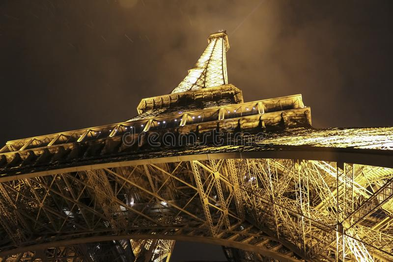The Eiffel Tower in Paris, France at the night. Eiffel Tower in Paris, France at the night royalty free stock photography