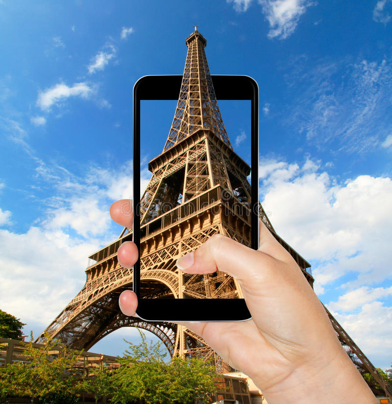 eiffel tower in paris france taken with a mobile phone stock illustration illustration of. Black Bedroom Furniture Sets. Home Design Ideas