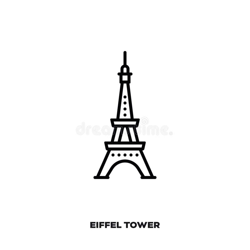 Eiffel Tower at Paris vector line icon vector illustration