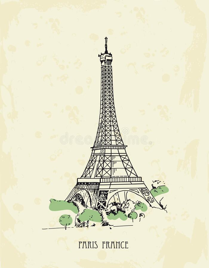 Eiffel Tower, Paris, France. Vector sketches hand drawn royalty free stock image