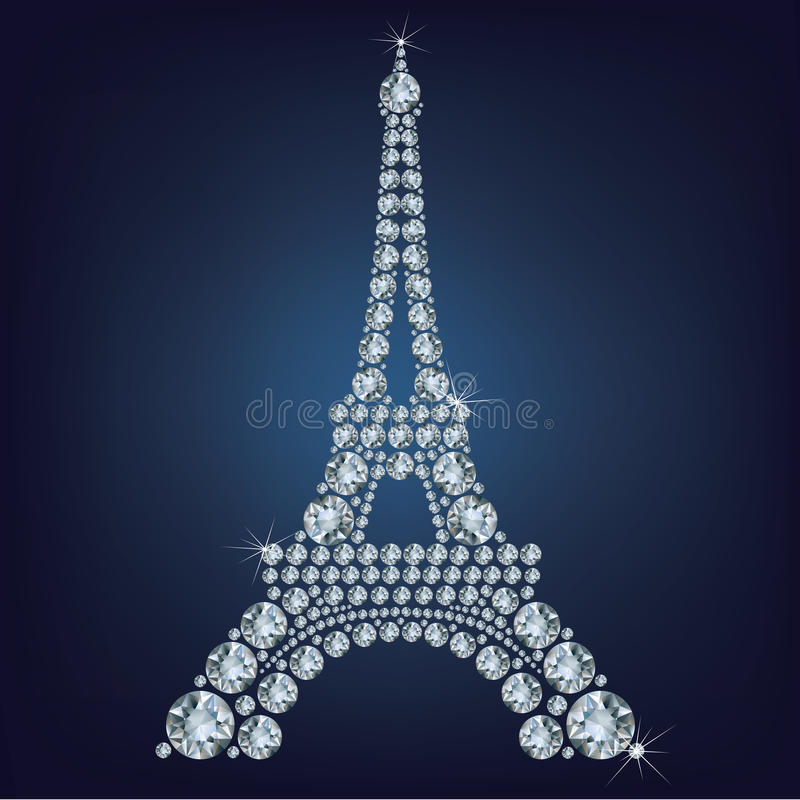 Eiffel tower - Paris made up a lot of diamonds stock illustration