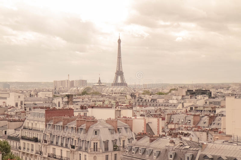 Eiffel Tower in Paris with Rooftops stock image