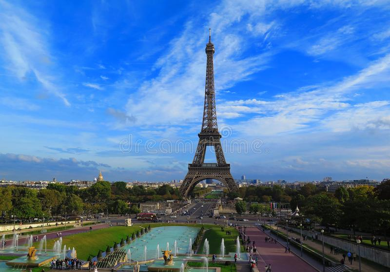 Eiffel Tower in Paris scenic view with the blue sky royalty free stock photography
