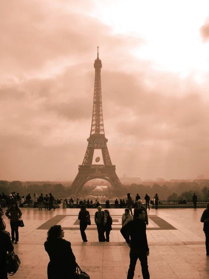 Paris Eiffel Tower in sepia royalty free stock photo