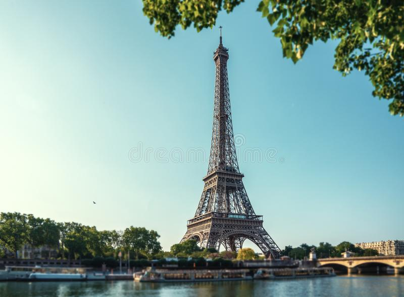 The eiffel tower in Paris at sunrise morning royalty free stock photos