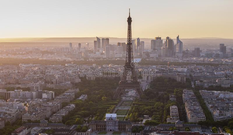 Eiffel tower in paris at sunset royalty free stock photography