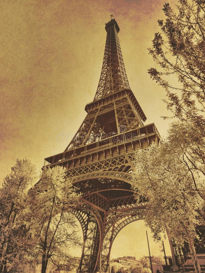 Eiffel tower in paris vintage photo sepia old textured effect stock image
