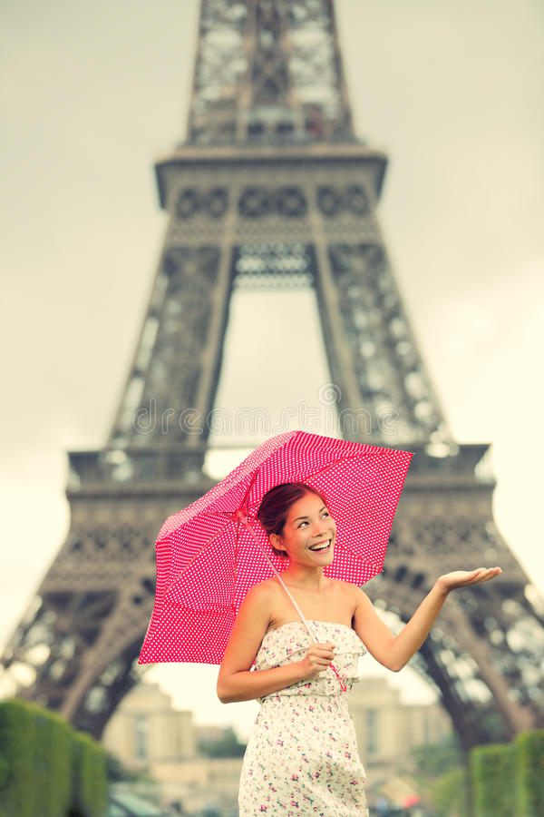 Eiffel Tower Paris woman stock images